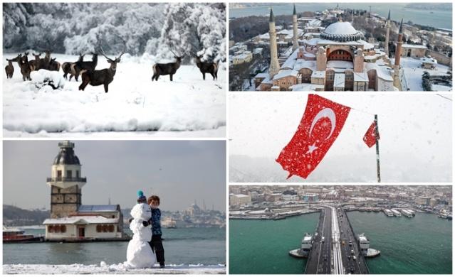 İstanbul'da cuma gününden itibaren başlayan kar yağışı, kentin birçok noktasında etkisini artırarak sürdürüyor.