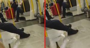 İğrenç görüntüler: Metroda herkesin gözü önünde tuvaletini yaptı