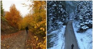 Küre Dağları'nın bir yanı kış diğer yanı sonbahar