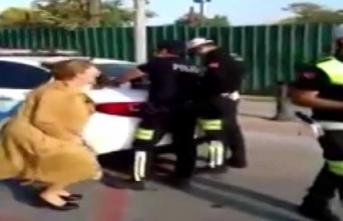 Ceza yiyen sürücünün çığlıkları polisi isyan ettirdi