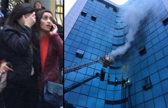 Şişli'de 17 katlı iş merkezinde yangın paniği!