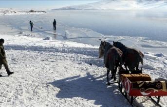Doğu Anadolu'nun en büyük ikinci gölü dondu