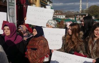 Erken yaşta evlenen kadınlar eşleri için eylem yaptı