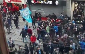İstiklal'de gergin anlar... GS Store mağazasına saldırdılar