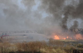 Mayınlı alanda çıkan yangına TOMA ile müdahale