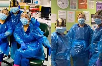 New York'ta önlükleri tükenen hemşireler çöp poşeti giymek zorunda kaldı