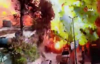 Afrin'de 11'i çocuk 40 kişinin öldüğü patlama anı kamerada