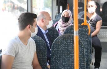 Bakan Soylu, halk otobüsüne bindi, vatandaşları uyardı