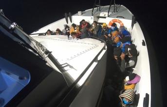 Balıkesir'de Türk kara sularına itilen 54 sığınmacı kurtarıldı