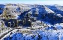 Ulubey Kanyonu beyaz örtüyle kaplandı