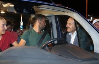 İçişleri Bakanı Soylu'dan trafik denetlemesi