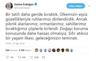 Emine Erdoğan'dan 'doğaya karşı hassasiyet' mesajı