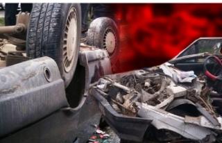 Akılalmaz kaza: 7 metreden aracın üzerine uçtu!