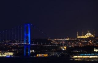 İstanbul köprüleri kolon kanseri farkındalığı...