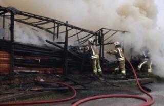 Ataşehir'de kereste deposunda yangın
