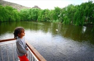 Bozkırın ortasındaki Balıklı Göl güzelliğiyle...