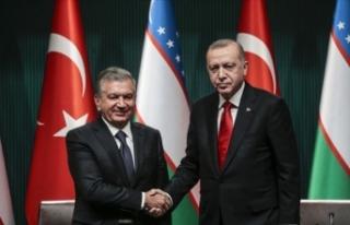 Erdoğan Mirziyoyev ile görüştü