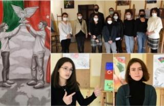 Öğrenciler Karabağ Zaferi'ni resmetti