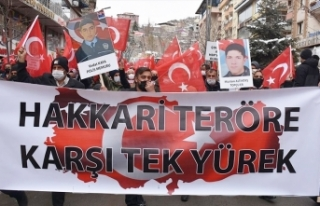 Hakkari'de Gara katliamına Türk bayraklı tepki...