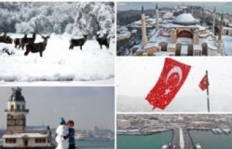Kar her yeri beyaza bürüdü: Yurttan kartpostallık görüntüler