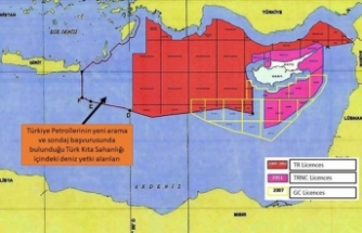 Dışişleri Bakanlığı, Doğu Akdeniz'de yeni ruhsat başvurusu yapılan sahaların yerini gösteren haritayı paylaştı