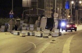 Mersin'de arı kovanı taşıyan kamyon kaza yaptı! Arılar yola saçıldı...