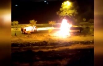 İşçileri taşıyan otobüste yangın