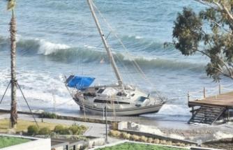 Bodrum'da kuvvetli rüzgar tekneyi sürükledi