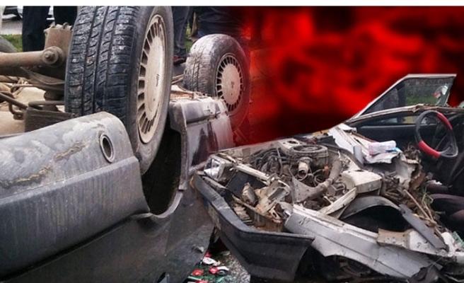 Gaziantep'te akılalmaz kaza: 7 metreden aracın üzerine uçtu!