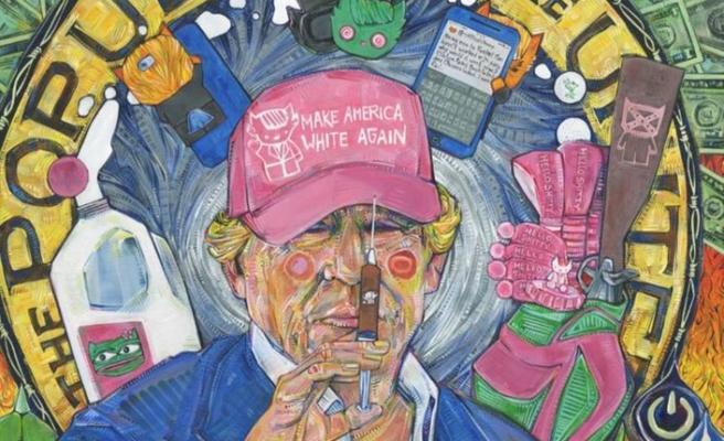 Trump'ı klozetle resmetti