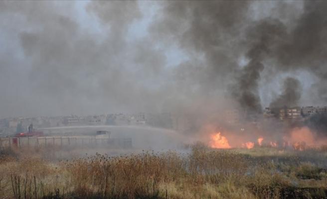 Mayınlı alanda çıkan yangına TOMA ile müdahale edildi