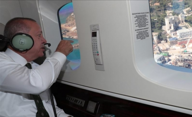Erdoğan helikopterden Yassıada'daki çalışmaları inceledi