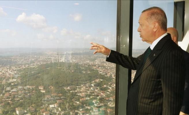 Cumhurbaşkanı Erdoğan yapımı devam eden Çamlıca Kulesi'ni inceledi