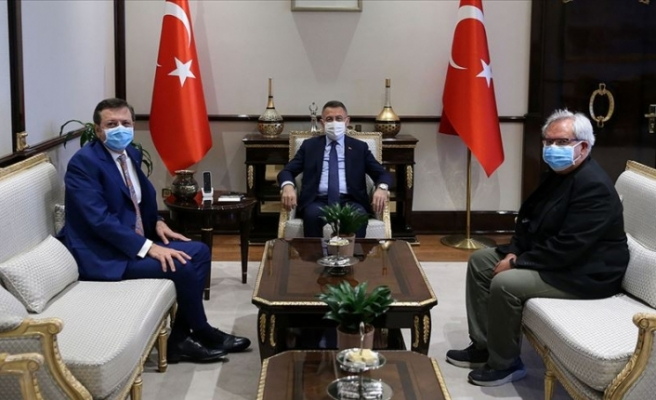 Cumhurbaşkanı Yardımcısı Oktay, TOBB Başkanı Hisarcıklıoğlu ve TEPAV Direktörü Sak'ı kabul etti