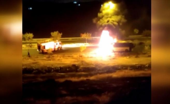 Şanlıurfa'da işçileri taşıyan otobüste yangın
